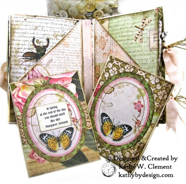Eileen Hull Notebook Die Stamperia Spring Botanic Mini Album by Kathy Clement Kathy by Design for The Funkie Junkie Boutique Photo 06