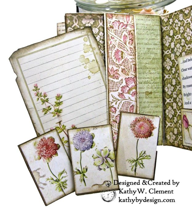 Eileen Hull Notebook Die Stamperia Spring Botanic Mini Album by Kathy Clement Kathy by Design for The Funkie Junkie Boutique Photo 08