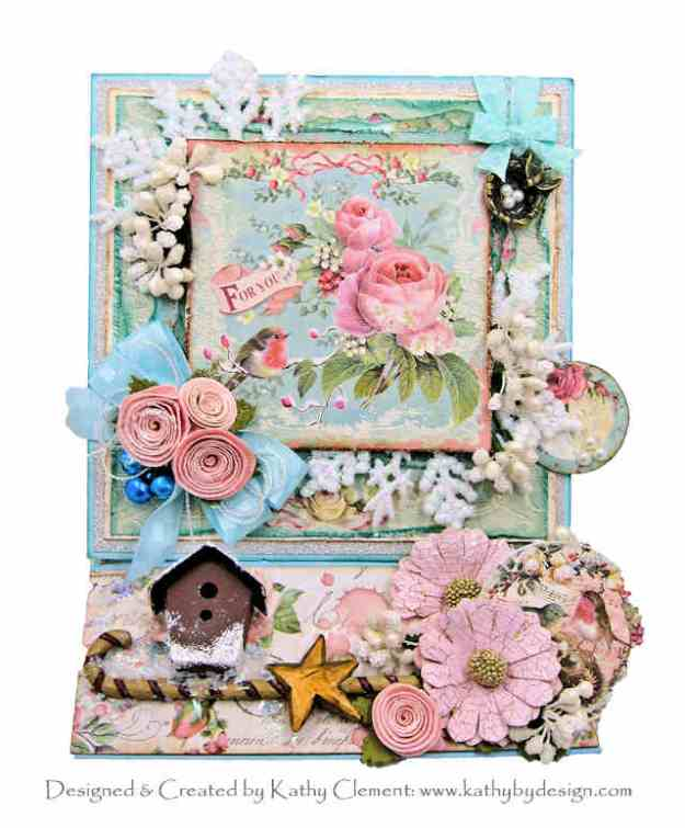 Stamperia Pink Christmas Birds Christmas Carol Box Card by Kathy Clement Kathy by Design for Really Reasonable Ribbon Photo 01