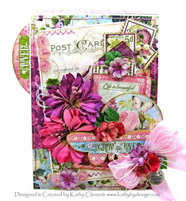 Blooming Beauty Box Card Graphic 45 Bloom Collection Eileen Hull Gift Card Folder and Label Die by Kathy Clement Kathy by Design for Really Reasonable Ribbon PHoto 01
