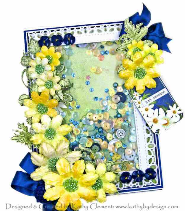 Heartfelt Creations Peacock Paisley Delightful Daisy Shaker Card by Kathy Clement Kathy by Design Photo 01