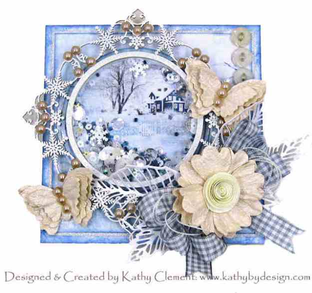 Ciao Bella Time for Home Winter Blues Shaker Card Reneabouquets snowflake frame by Kathy Clement Kathy by Design for Really Reasonable Ribbon Photo 01