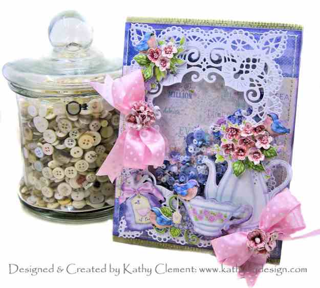 Heartfelt Creations Tea Time Shaker Card by Kathy Clement Kathy by Design Photo 01