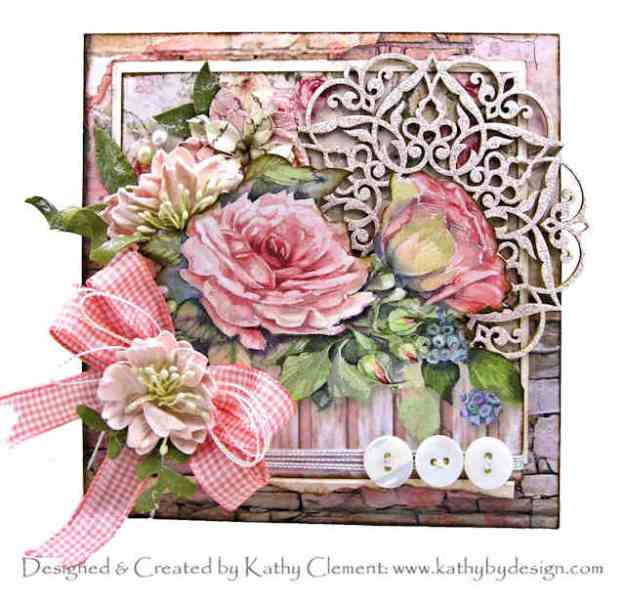 Stamperia House of Roses Card Reneabouquets April in Paris Beautiful Board Coral Rose Plaid Ribbon by Kathy Clement Kathy by Design Photo 01