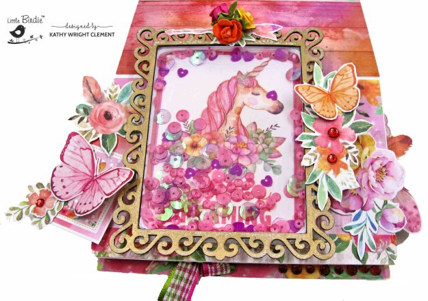 Little Birdie Crafts Boho Dreams Magical Unicorn Easel Shaker Card by Kathy Clement Kathy by Design Photo 01