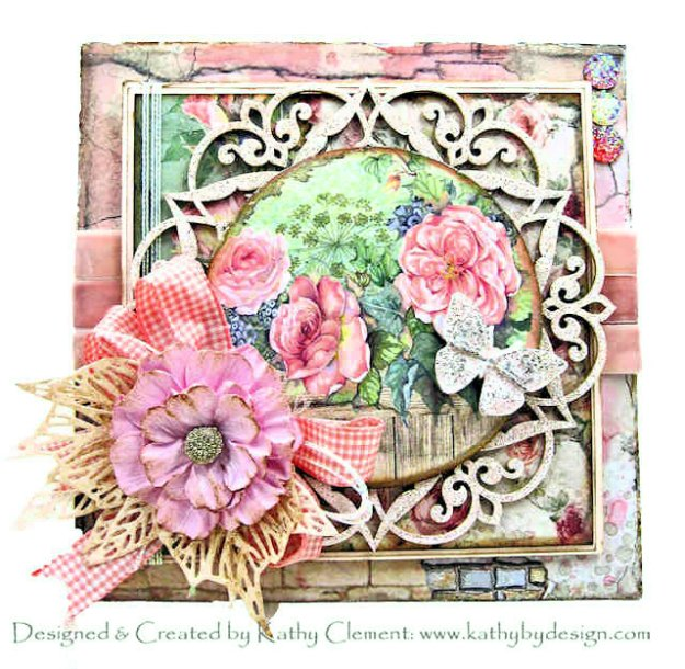 Stamperia House of Roses Renea Bouquets April in Paris Beautiful Board, Tim Holtz Sizzix Skeleton Leaves Kathy by Design Kathy Clement Photo 01
