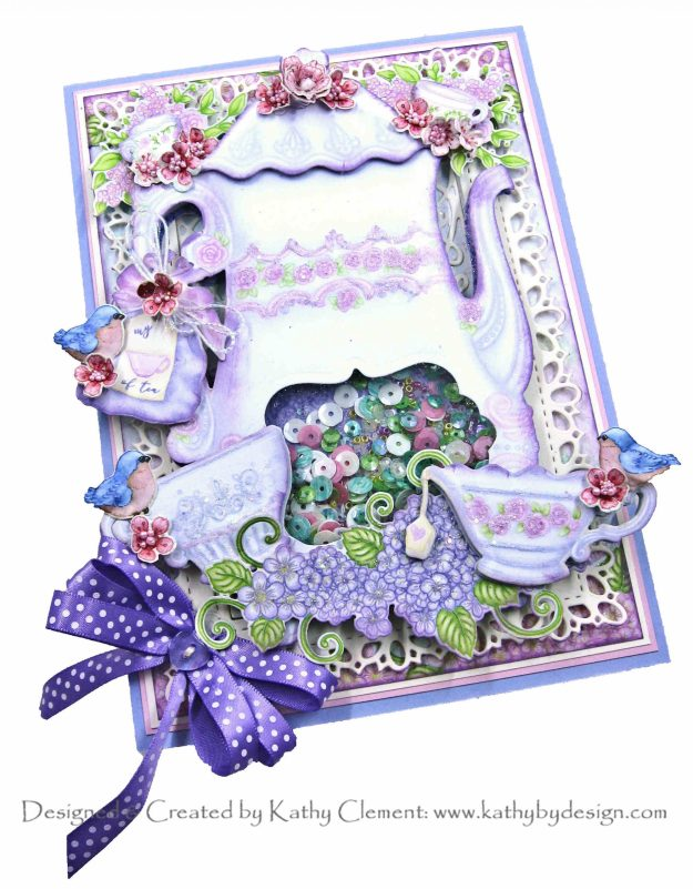Heartfelt Creations Tea Time Shaker Tea Pot Card Folio by Kathy Clement Kathy by Design Photo 01