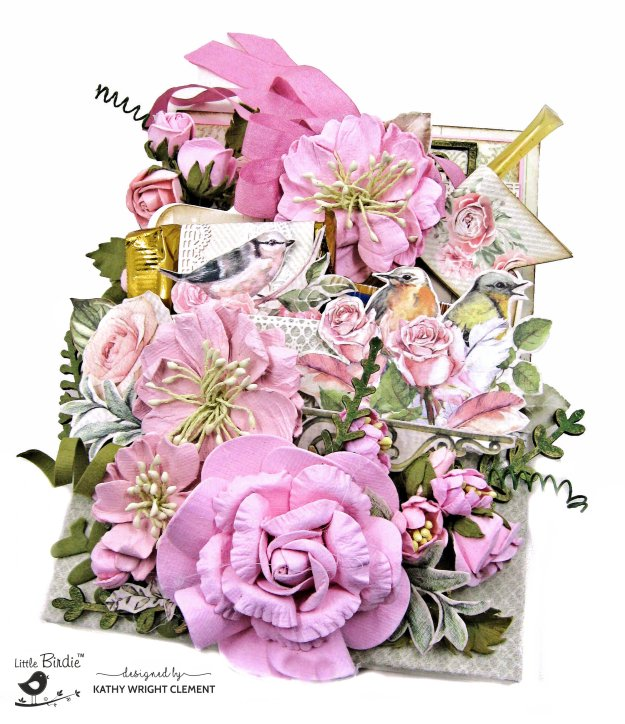 Little Birdie Crafts Shabby Chic Bouquet Loaded Pocket Card Tutorial by Kathy Clement Kathy by Design Photo 01
