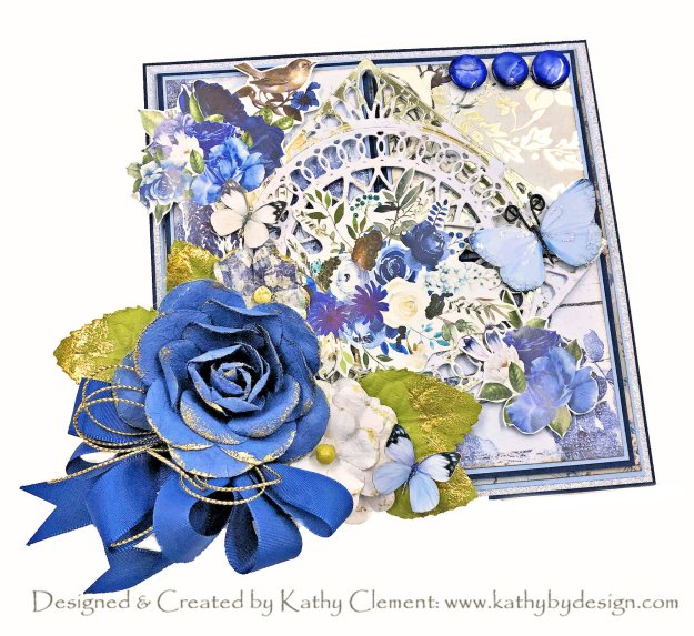 Prima Georgia Blues with Renealbouquets Beautiful Board Card Kathy Clement Kathy by Design Photo 01