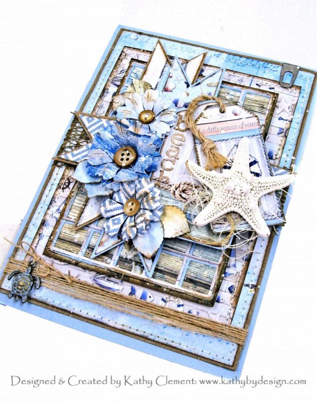 Ciao Bella Sound of Summer Beach Card with Spellbinders Amazing Paper Grace Snip it Grid Die by Kathy Clement Kathy by Design Photo 01