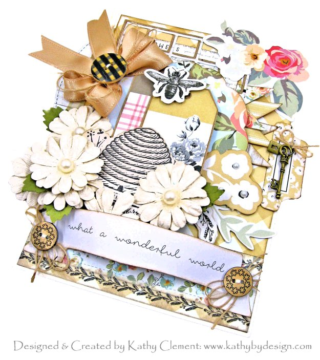 My Minds Eye Gingham Gardens Bee Themed Card Folio by Kathy Clement Kathy by Design for Really Reasonable Ribbon Photo 01