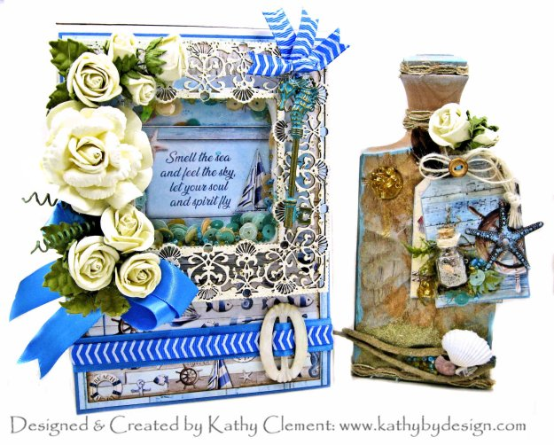 Ciao Bella Sound of Summer Shaker Card Folio and Altered Bottle by Kathy Clement Kathy by Design Photo 01