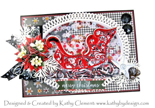 Spellbinders Amazing Paper Grace 3-D Pop Up Vignette Sleigh Carta Bella Christmas Delivery Shaker Card by Kathy Clement Kathy by Design Photo 01