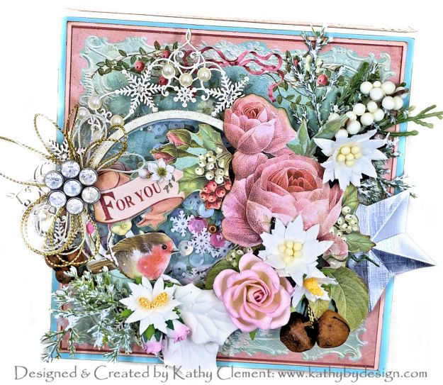 Stamperia Sweet Christmas Shaker Box Card by Kathy Clement Kathy by Design for Really Reasonable Ribbon Photo 01