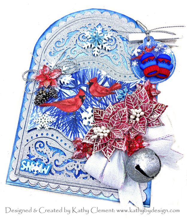 Christmas Cardinals Elegant Gateway Card by Kathy Clement for the Heartfelt Creations Alumni Hop by Kathy Clement Kathy by Design Photo 01