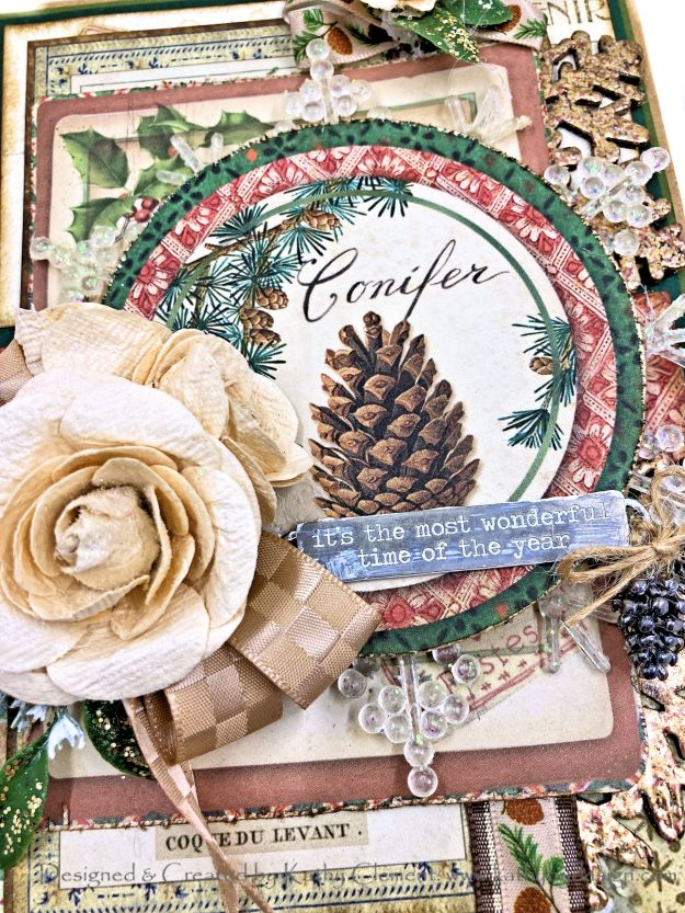 Stamperia Winter Botanic Christmas Card by Kathy Clement Kathy by Design for Really Reasonable Ribbon Photo 01
