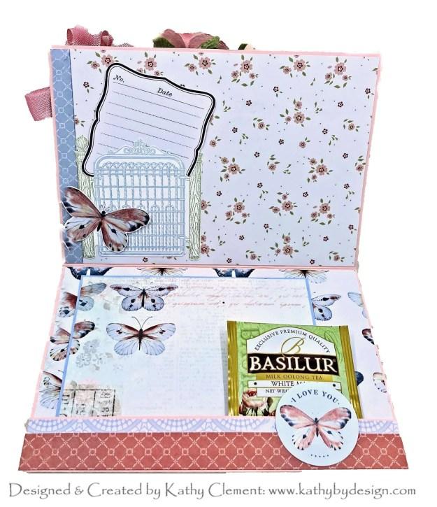 Blue Tea Bag cut /& emboss frame card outer