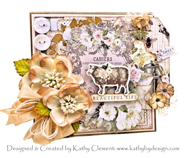 Prima Spring Farmhouse Collage Card Tutorial for Throwback Thursday by Kathy Clement Kathy by Design Photo 01