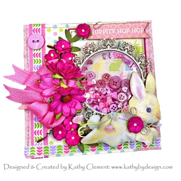 Authentique Best of Springtime Reneabouquets Beautiful Board Easter Bunny Kathy Clement Shaker Card Photo 01