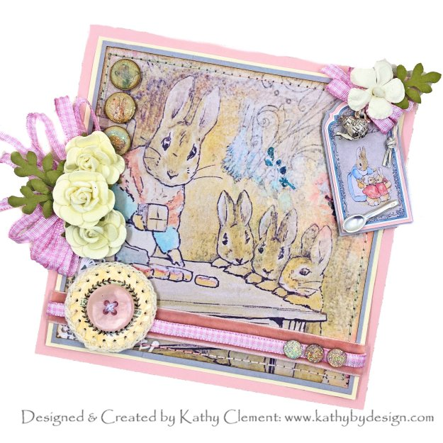 Peter Cottontail Tea Party Card Memory Place Peter's World by Kathy Clement Photo 01