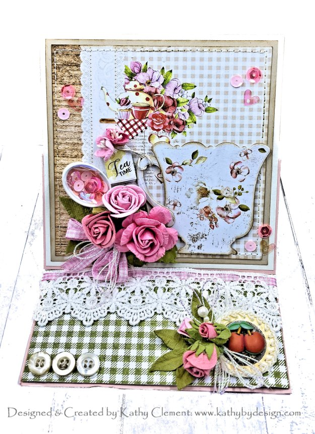 Country Cottage Teacups Easel Card Tutorial for Throwback Thursday by Kathy Clement Photo 01