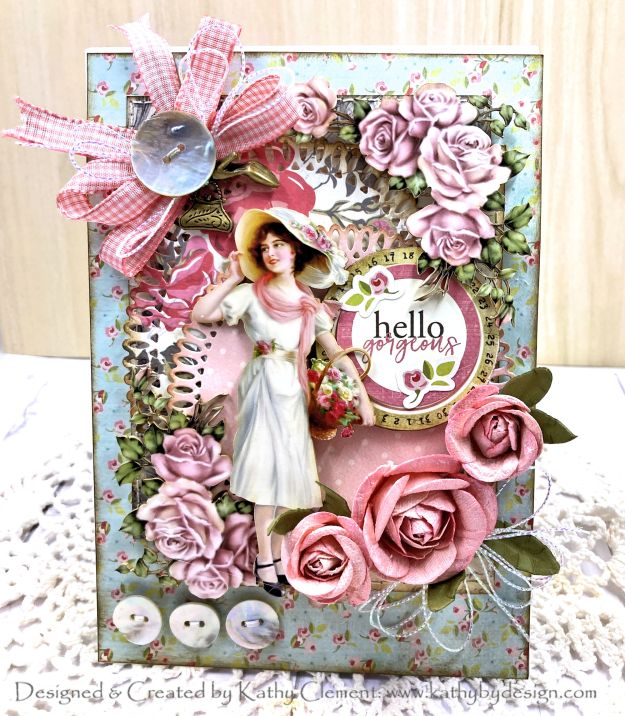 Julie Nutting French Flea Market Card with Reneabouquets Printed Beautiful Board by Kathy Clement