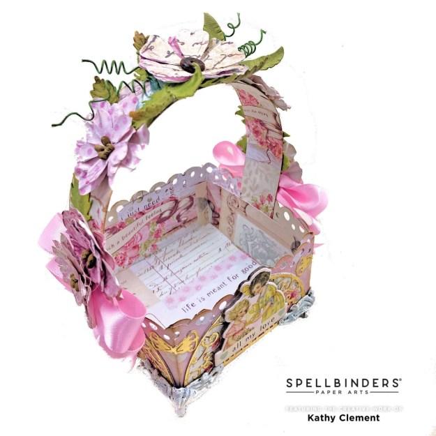 Spellbinders Lattice Petal Foldover Die Birthday Basket by Kathy Clement Photo 01