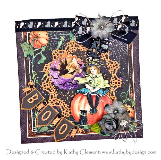 Graphic 45 Midnight Tales Halloween Card by Kathy Clement Photo 01