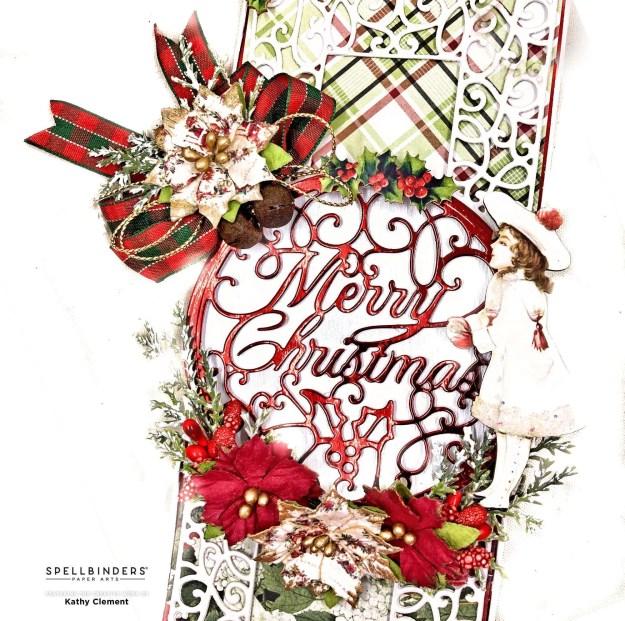 Spellbinders Merry Filigree Cardmaker Simple Stories Rustic Christmas Slimline Card by Kathy Clement Photo 01