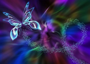 butterfly and energy waves