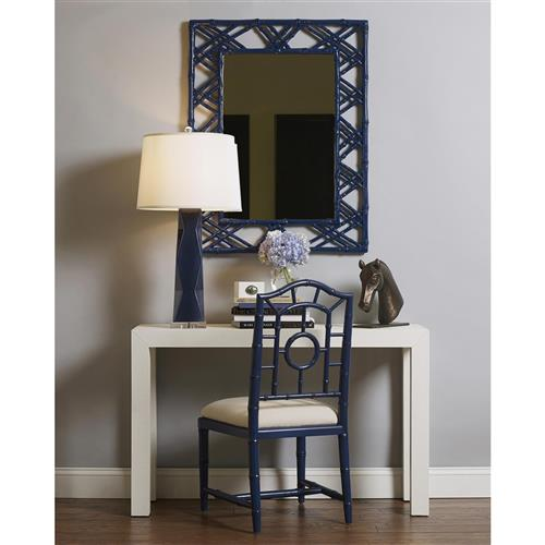 bungalow 5 claire global bazaar navy blue lacquer bamboo woven wall mirror