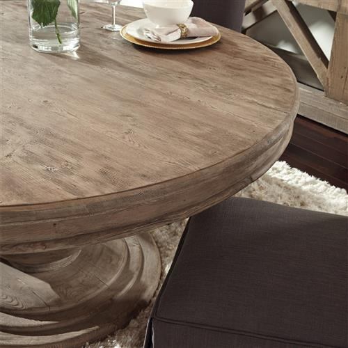 louis rustic lodge natural brown round distressed pine wood dining table 60d
