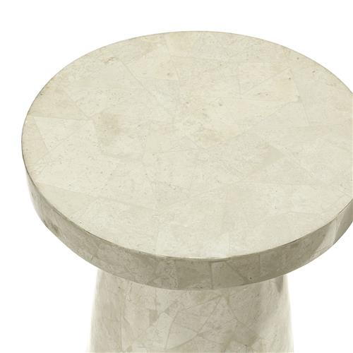 palecek foley modern classic white stone fiberglass tall round outdoor side end table