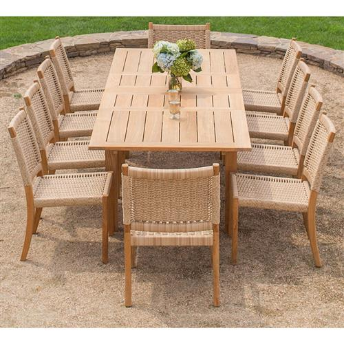 kingsley bate hyannis teak rectangular outdoor extendable dining table 70 102