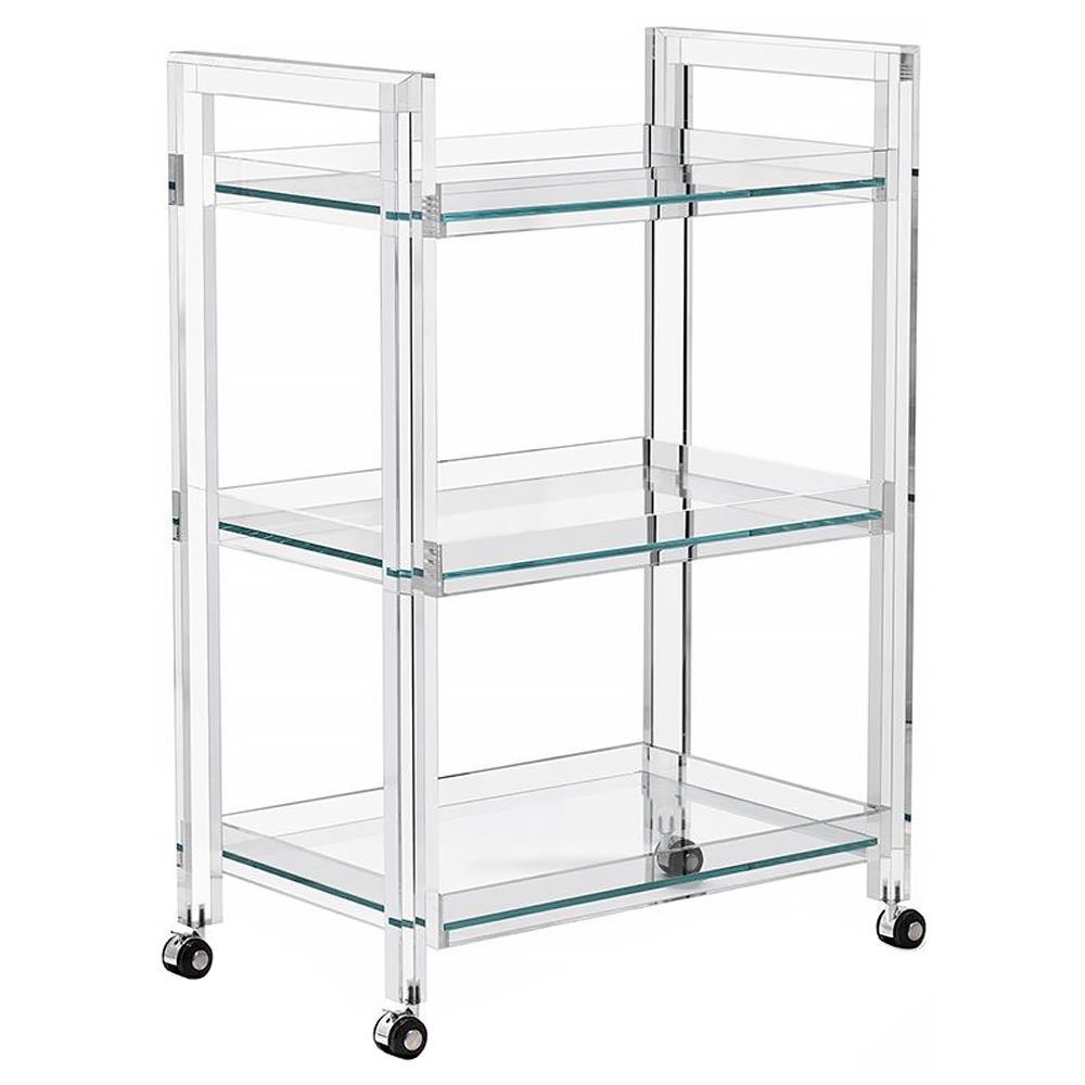 Interlude Ava Modern Acrylic and Glass Serving Bar Cart