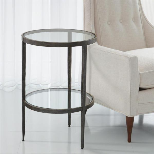 Brass and Glass End Table with Iron