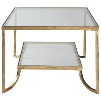 Madox Modern Classic Antique Gold Leaf Glass Coffee Table ...