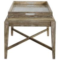 Moore Rustic Lodge Antique Mirror Tray Wood Coffee Table ...