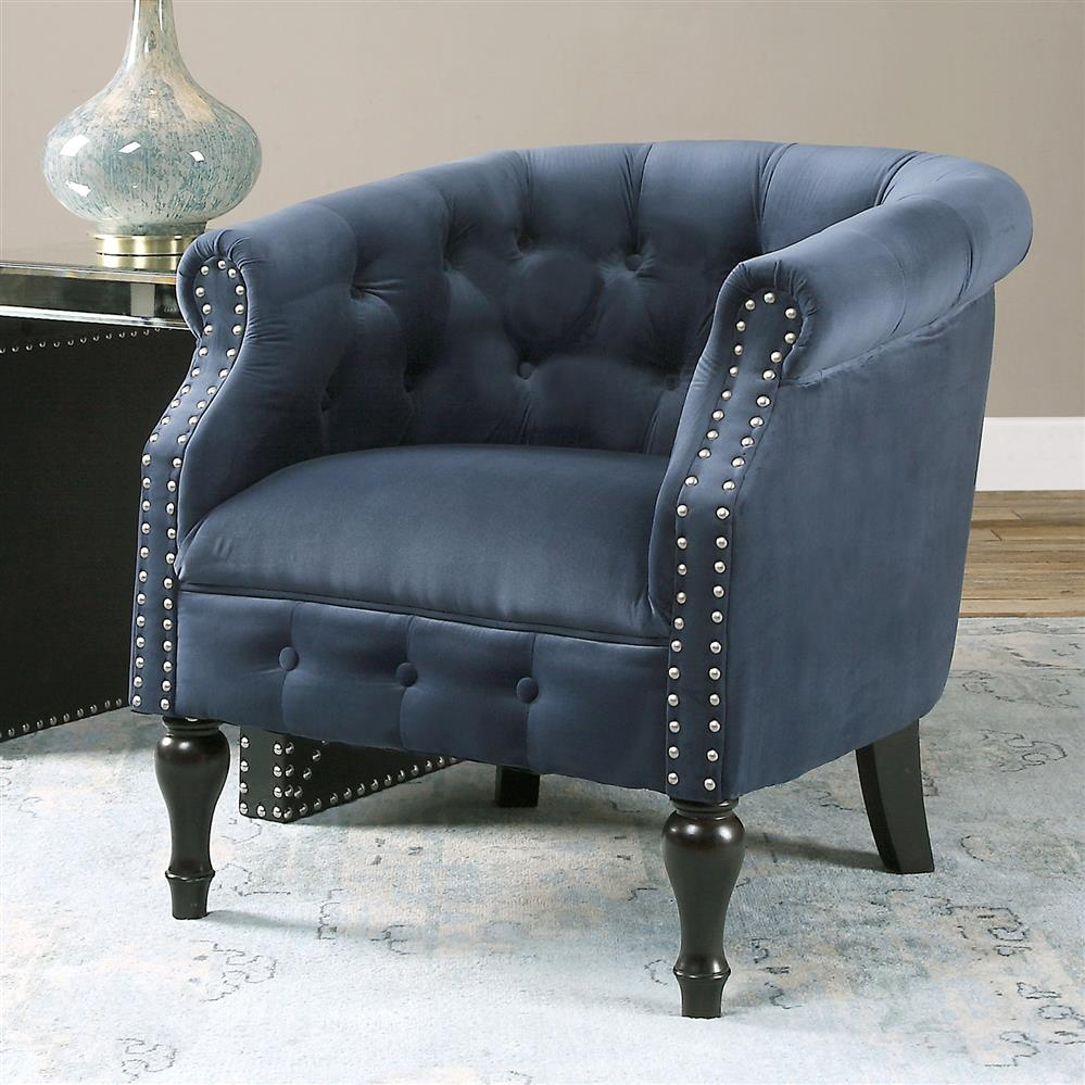 royal blue velvet chairs small folding chair viviana hollywood regency tufted club | kathy kuo home