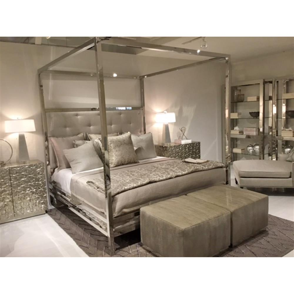Polly Modern Steel White Leather Four Poster Bed Queen