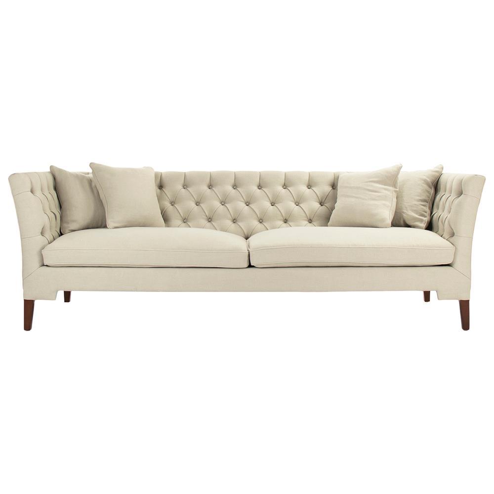 Eon Modern Classic Angular Beige Tufted Sofa  Kathy Kuo Home