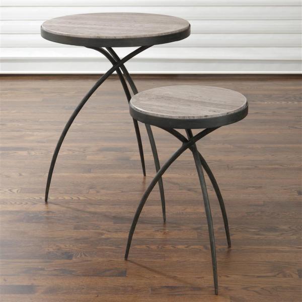 Abby Industrial Loft Grey Marble Iron Tripod End Table - 14d