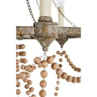 Auvergne French Country Rustic Iron Wooden Beads Chandelier