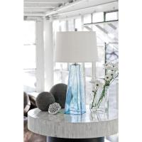 Lely Coastal Beach Ice Blue Seeded Glass Lamp | Kathy Kuo Home