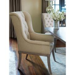 Beige Dining Chairs Windsor Style Michaela French Country Wood Upholstered Button Tufted White Arm Chair