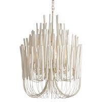 Olav Modern Classic White Washed Wood Tubular Chandelier ...