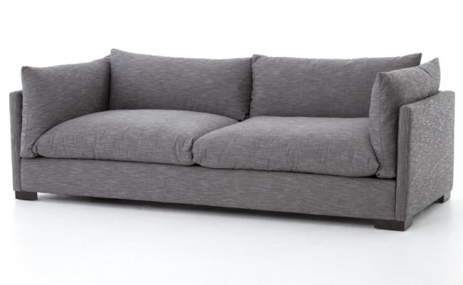 Zahira Industrial Modern Brushed Grey Lounge Sofa Kathy
