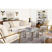 Mercer Stainless Steel Silver Square Glass Coffee Table ...