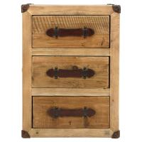 Galloway Rustic Wood Trunk Leather Nightstand | Kathy Kuo Home