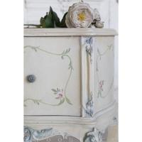 Eloquence French Vintage Ivory Handpainted Floral Nightstands